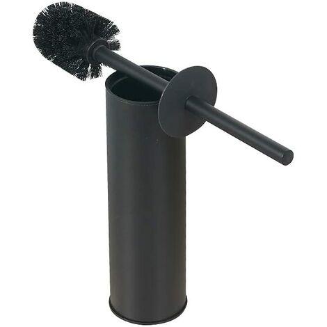 Brosse de toilette en acier inoxydable massif et support-laveur de toilette à poignée en acier inoxydable 304 (noir mat)
