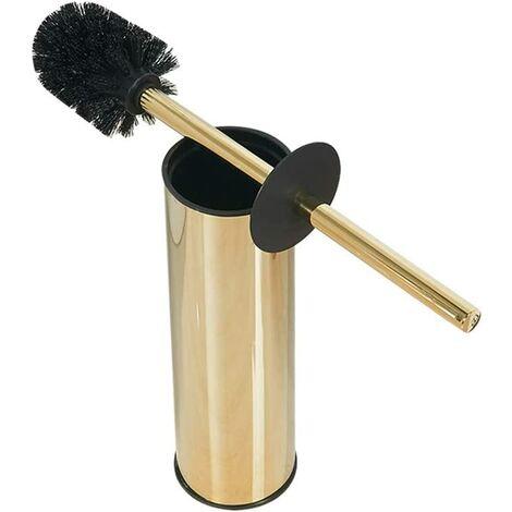 Brosse de toilette en acier inoxydable massif et support-laveur de toilette à poignée en acier inoxydable 304 (or).