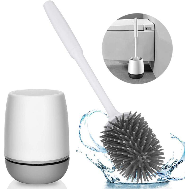 Brosse de toilette en silicone avec ensemble de support Brosse de cuvette de toilette pour salle de bain Brosse de nettoyage de toilette douce sans