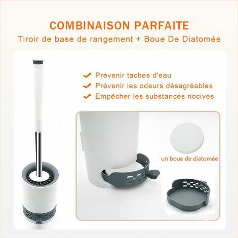 Brosse de Toilettes en Silicone Mural et Plancher Brosse WC à Séchage Rapide - SIRHONA