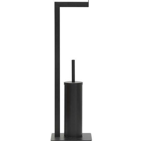Brosse et dérouleur WC en métal noir - Noir