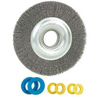 Brosse métallique : diam.150mm+bagues20-14-12,7mm, ép.18mm, fil acier 0,35mm