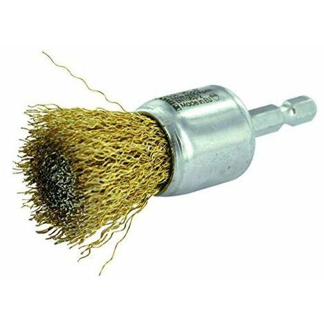 BROSSE PINCEAU TECHNIC TIVOLY fil acier laitonné - décapage du bois, laiton, cuivre 24 pour perceuse