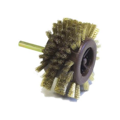 Brosse radiale courte acier laitonné GERLON Ø95 mm - brins 15 mm - BRAD