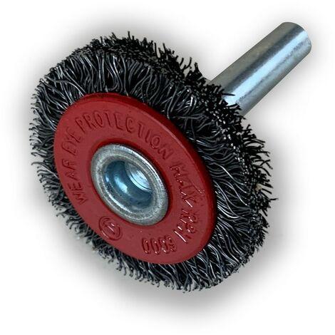 Brosse rotative circulaire métallique   Brins acier   sur tige Ø 6 mm - A l'unité - Ø 30 mm - Fil souple