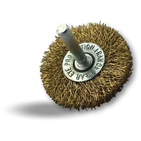 Brosse rotative circulaire métallique Laiton   Sur tige Ø 6 mm   Pour perceuse ou visseuse à mandrin - Laiton fil souple   Qté x 1 - Diamètre Ø 75 mm