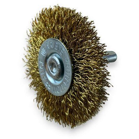 Brosse rotative circulaire métallique Laiton   Sur tige Ø 6 mm   Pour perceuse ou visseuse à mandrin - Laiton fil souple   Qté x 3 - Diamètre Ø100 mm