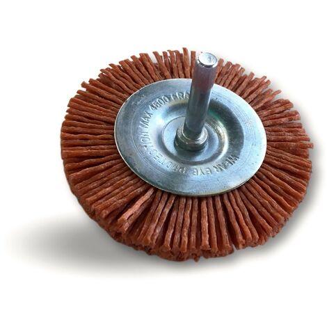 Brosse rotative circulaire   Sur tige Ø 6 mm   Brins nylon abrasif grain 80 - Nylon grain 80   Qté x 1 - Diamètre Ø100 mm