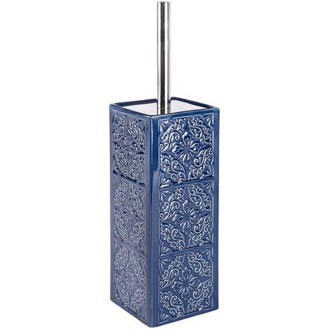 Brosse WC, Céramique à relief, Cordoba bleu foncé WENKO