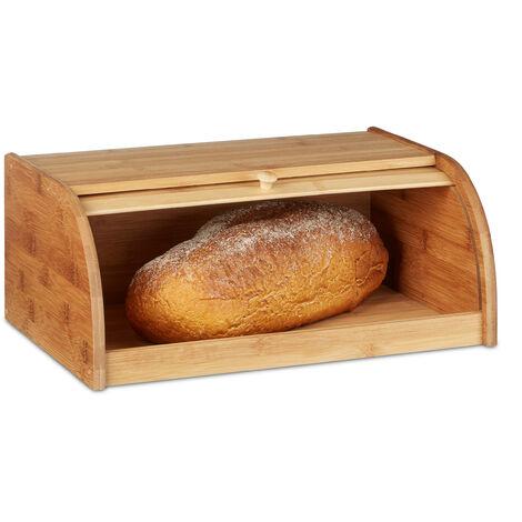 Brotkasten Bambus HBT: 16,5 x 40 x 27,5 cm Rollbrotkasten für aromadichte Brot Aufbewahrung Brotkiste mit Rolldeckel als Brottrommel oder Brotwächter für Brötchen und Gebäck, natur