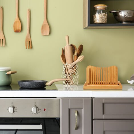 Brotschneidehilfe, verstellbare Schneidehilfe, Brot, Toast & Kuchen, Bambus, Brotbrett mit Krümelfach, natur