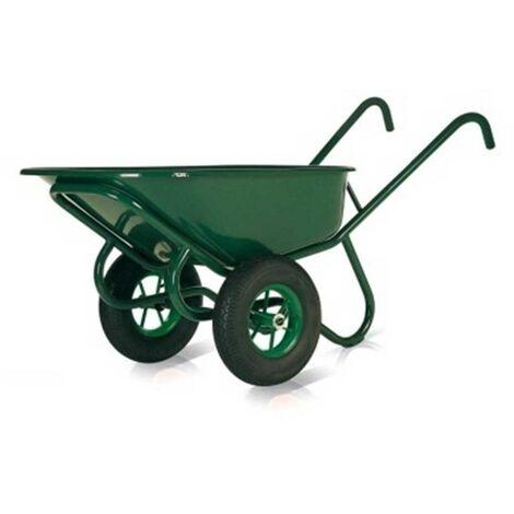 brouette acier peint vert 160l ep32mm 2 roues gonflables altrad