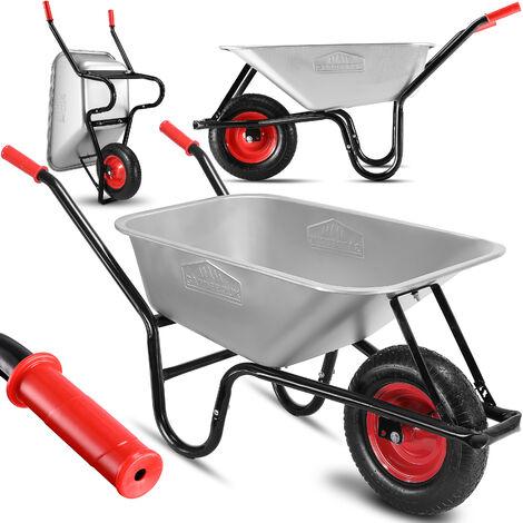 Brouette de jardin 100L max 250kg chariot transport feuilles bois construction chantier zingué roue pneumatique