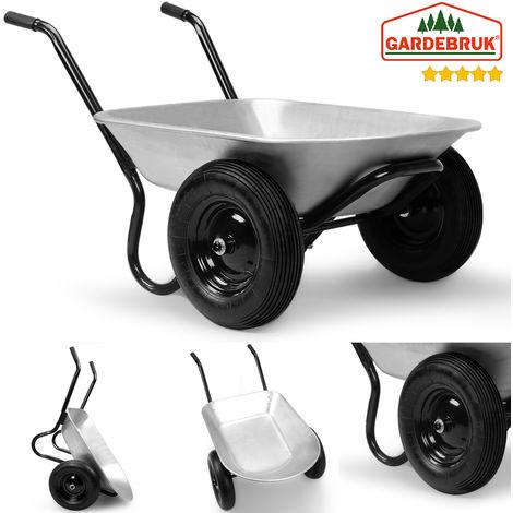 Brouette de jardin 2 roues avec cuve galvanisée Capacité 150kg / 100 litres