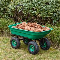 brouette de jardin (75L - 300kg capacité de charge) (vert) avec fonction de basculement (axe longitudinal et pneus à air)