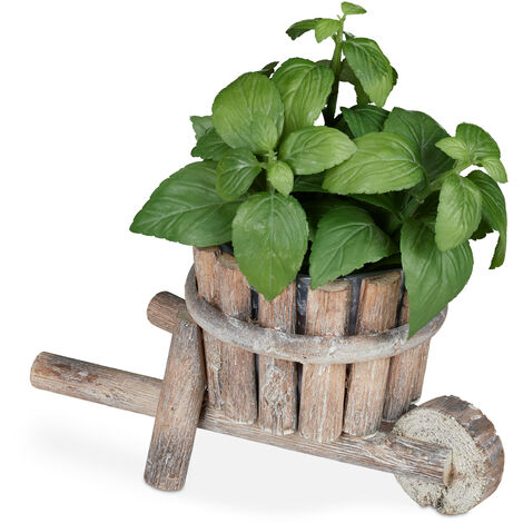 Brouette plantes en bois, décoration jardin, design shabby chic, à orner de fleurs, HLP 14 x 27 x 15 cm,nature