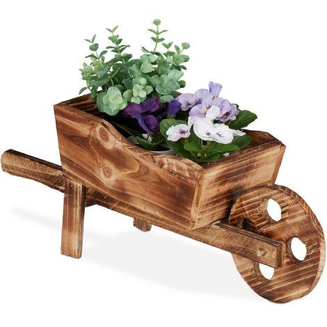 Brouette pour plantes, bois brûlé, jardin décoration, design vintage, HxlxP 19 x 47 x 15cm,nature