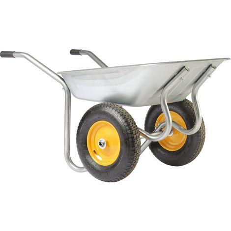 Brouette Start Twin 2 roues Haemmerlin - Roue gonflable - Galvanisée - Gris et jaune