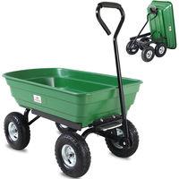 Brouette verte avec fonction d''inclinaison, essieu directeur et pneumatiques