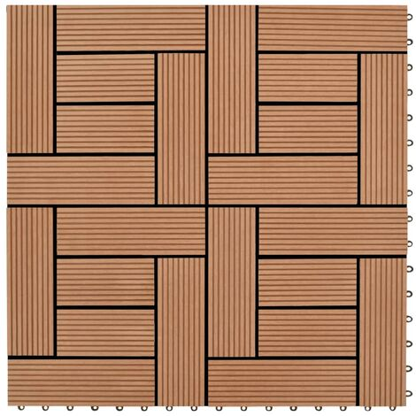 Brown 11 pcs 30 x 30 cm Decking Tiles WPC 1 sqm