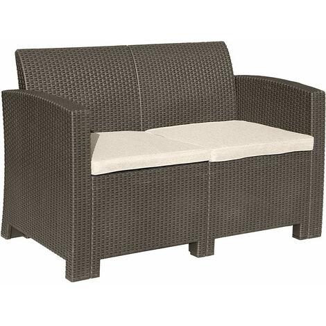 Brown 2-Seater Rattan Sofa Lounger Cream Cushion Outdoor Garden Patio Furniture