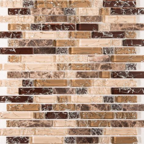 Brown and White Crackle Glass & Marble Mosaic Tile Sheet MT0154