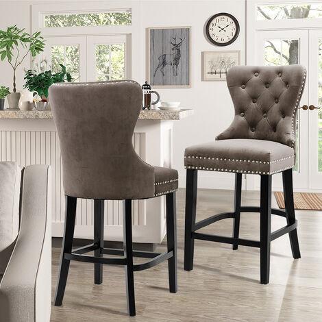 Brown Bar Stools Kitchen Breakfast Stool Fabric Velvet Foam Chair Seat