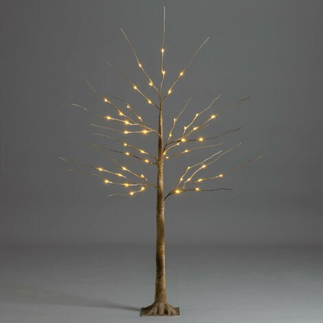Brown Christmas Birch Tree with LED Lights - 4ft