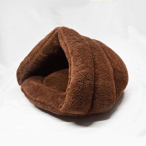 Brown Fleece Puppy Pet Cat Bed Basket Nest Sleeping House