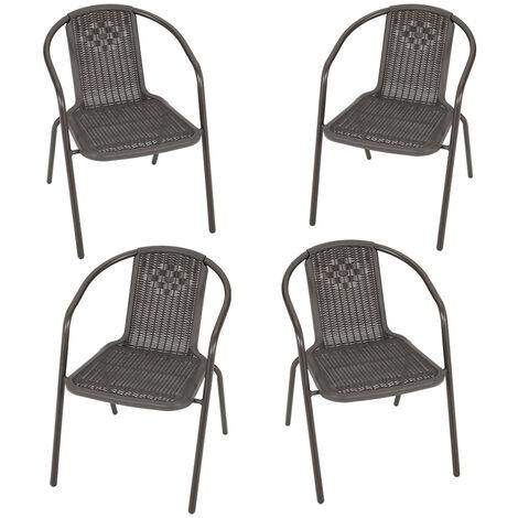 Brown Garden Rattan Folding Chair