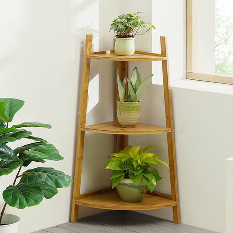 """main image of """"Brown Ladder Bamboo Wood Flower Plant Stand Corner Bookcase Shelf"""""""