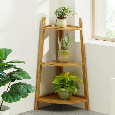 Brown Ladder Bamboo Wood Flower Plant Stand Corner Bookcase Shelf