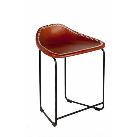 """main image of """"Brown Leather Stool made from Reclaimed Metal"""""""