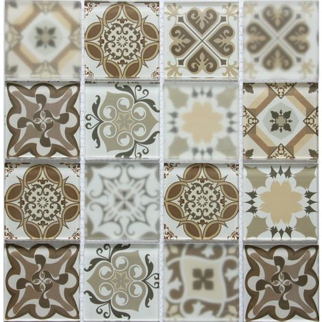 Brown Patterned Glass Mosaic Tile Square Meter MT0181