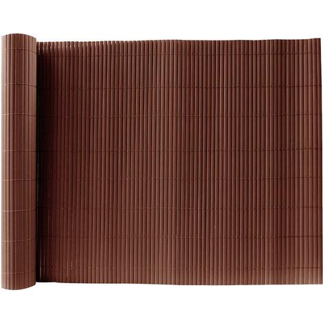 Brown PVC Fence Screen Bamboo Mat Border Panel Garden Wall Privacy Protect