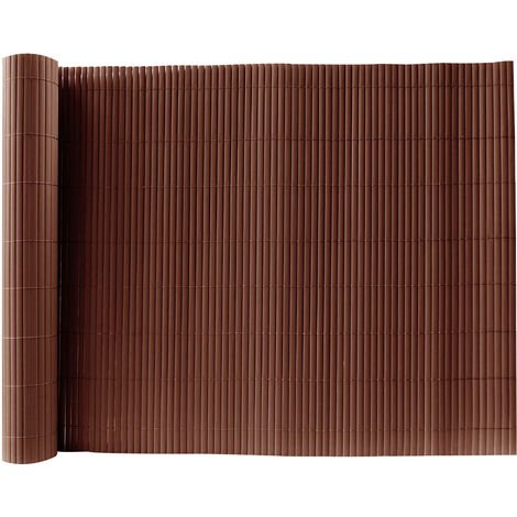 Brown PVC Fence Screen Bamboo Mat Border Panel Garden Wall Privacy Protect,1.5x3M