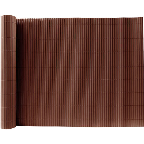 Brown PVC Fence Screen Bamboo Mat Border Panel Garden Wall Privacy Protect,1x3M