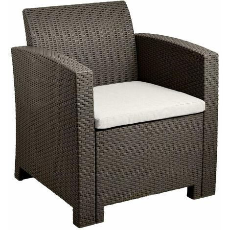 Brown Rattan Effect Armchair Cream Cushion Outdoor Garden Patio Furniture