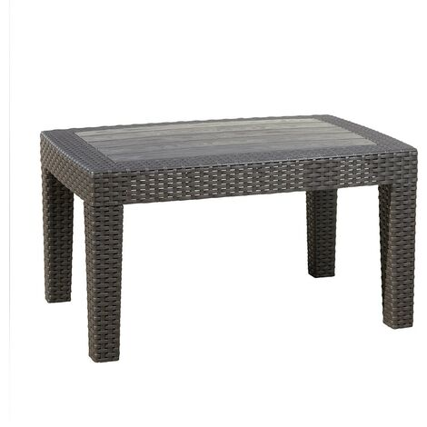 """main image of """"Grey Rattan Effect Coffee & Drinks Side Table - Outdoor Garden Patio Furniture"""""""