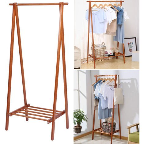Brown Wooden Clothes Rail Stand Hanging Rack Storage Shelves