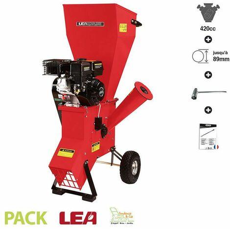 Broyeur de végétaux coupe 89mm moteur thermique 420cc 13 cv LEA LE56420-89 - Rouge