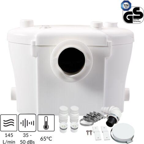 Broyeur Sanitaire 400W, Pompe avec Déchiqueteuse Intégreé pour WC et 2 Entrées Supplémentaires pour Tous types d'Appareils Sanitaires