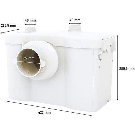 Broyeur Sanitaire pour WC 600W Filtre et Alarme Intégrés, 1 Entrée Supplémentaire pour Tous Types d'Appareils Sanitaires
