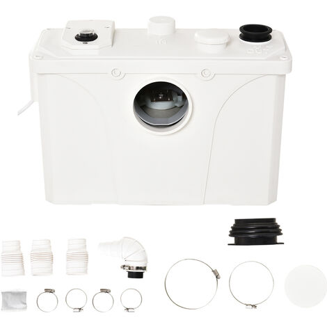 Broyeur sanitaire WC pompe de relevage 600 W silencieux compact 4 colliers serrage + 4 embouts blanc - Blanc