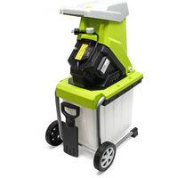 Broyeur végétaux électrique 2500W Déchiqueteur Jardin Branche Coupe 40mm Bac ramassage Mobile