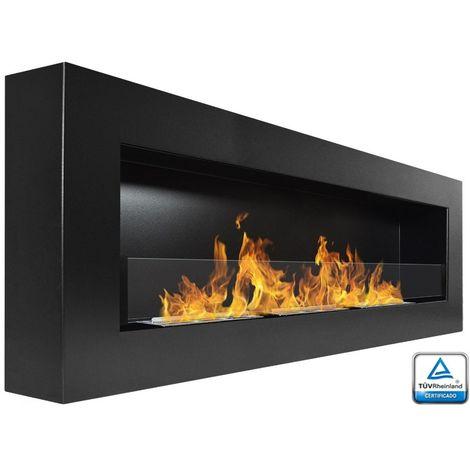 BRT - Eydis Glass 120 cm - Chimenea de Bioetanol (6,3 kw), color negro