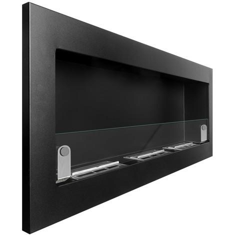 BRT - Svana Glass 120 cm - Chimenea de Bioetanol (6,3 kw), color negro