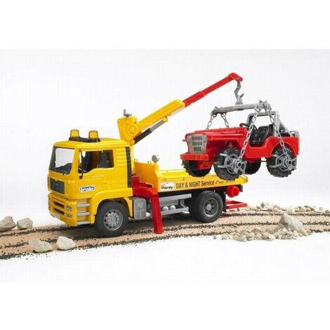 BRUDER - 2750 - Camion Depannage Man + Portique Et Jeep Echelle 1/16eme - 49,5 cm