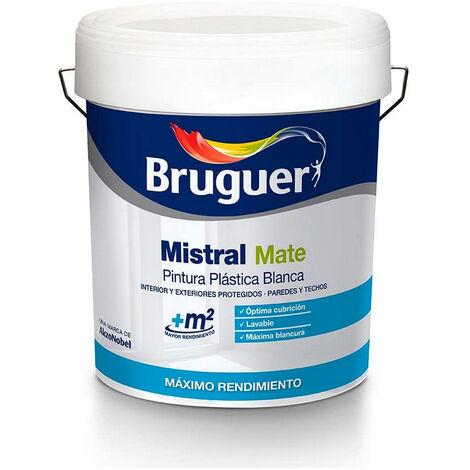 BRUGUER Pintura plastica blanca mate mistral 15 litros para interior y exterior 5056359 bruguer