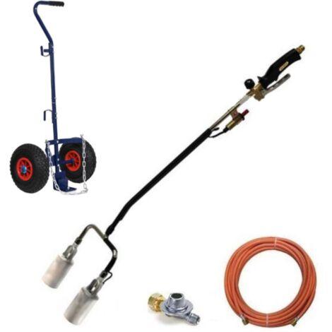 Brûleur de mauvaises herbes à gaz avec double tête et allumage Piezo, tuyau de gaz de 5 mètres, régulateur de pression et chariot pour bouteilles de gaz - GT89